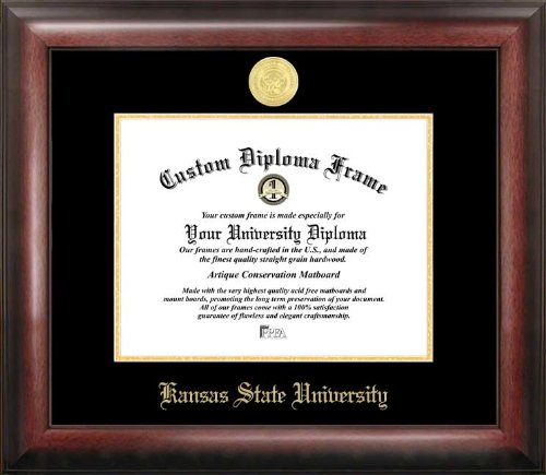 "Campus Images KS998GED Kansas State University Embossed Diploma Frame, 8.5"" x 11"", Gold from Campus Images"