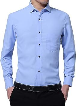 Camisas de Hombre Slim Fit Elegante, Hombre Moda Business Solid Color Solid Talla Grande de Manga Larga Camisa Top Blusa, Hombre, BLU Cielo, M: Amazon.es: Deportes y aire libre