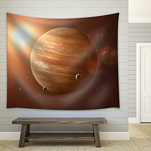 Colorful Picture Represents Jupiter and Its Moons Elements of This Image Furnished by Nasa Fabric Wall