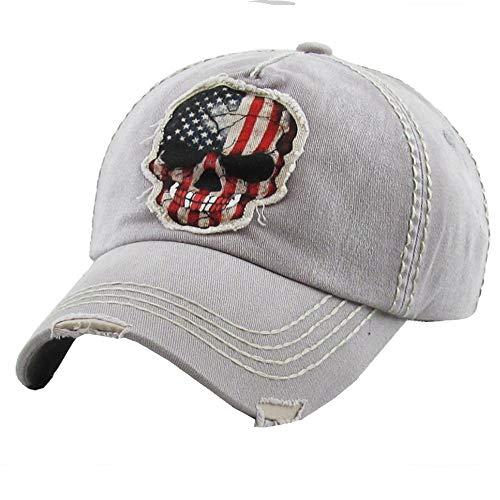 (Men's USA American Flag Skull Vintage Ball Cap (Grey))