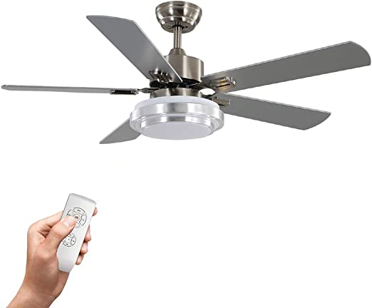 Warmiplanet Ceiling Fan with LED Light and Remote Control, 52 Inch, Brushed Nickel(5-Blades)