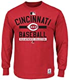 Cincinnati Reds MLB Majestic Mens Long Sleeve Color Block Shirt Big & Tall Sizes