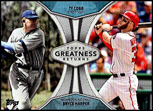 2019 Topps Greatness Returns Baseball #GR-11 Ty Cobb/Bryce Harper Detroit Tigers/Washington Nationals Official MLB Trading Card By Topps