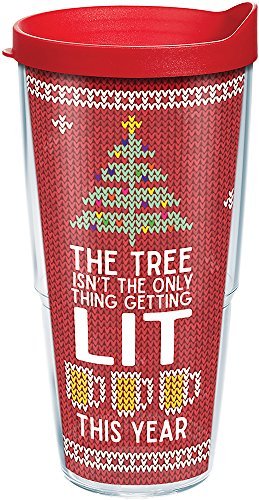 (Tervis 1272329 Lit Tumbler with Lid, Inspired by ugly holiday sweaters, this fun, spirited design lets friends and family know what youve planned for Christmas vacation. , Red)