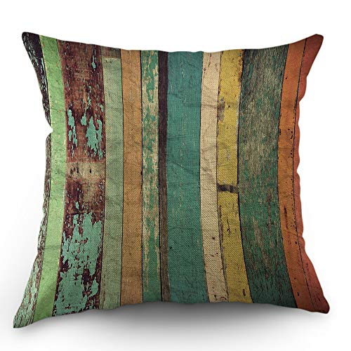 Moslion Wood Pillows Striped Throw Pillow Cover Vintage Plank Wooden Stripe Pillow Case 18x18 Inch Accent Pillow Cotton Linen Square Cushion Decorative Cover for Sofa Bed Multicolor