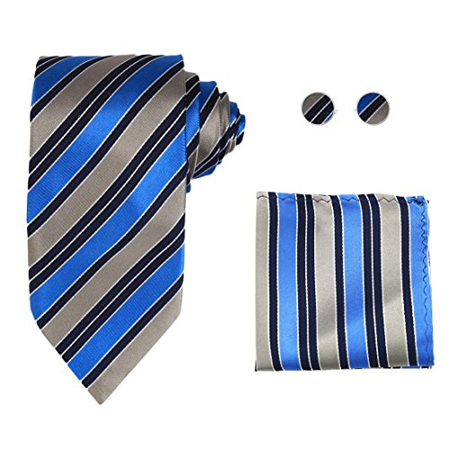 Y&G H8043 Royal Blue Striped Designer Silver Dark Blue Economics Presents Silk Tie Cufflinks Hanky Set ()