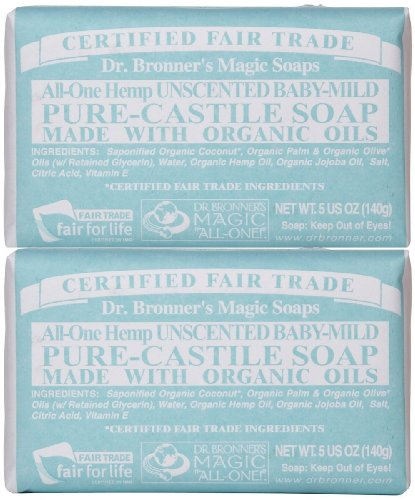 Dr. Bronner's Magic Soaps Pure Castile Bar Soap, Baby Mild 5 oz 1 100% natural This product contains glycerin Mild and gentle for baby's
