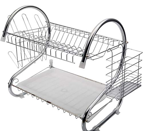 red 2 tier dish rack - 4