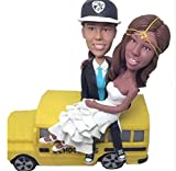 Custom Bus Driver Lesbian Wedding Bobblehead Polymer Clay Bobbleheads Cake Toppers
