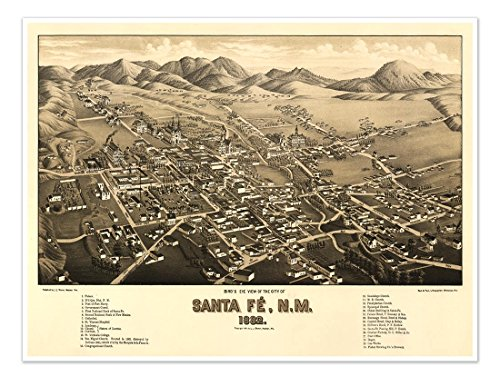 Downtown Santa Fe New Mexico - Bird's Eye View MAP of the city of SANTA FE New Mexico circa 1882 - measures 18