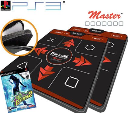 (2 x Dance Dance Revolution Ultra Sensitive Master Super Deluxe Dance Pad for PS3 + DDR Extreme2 for)