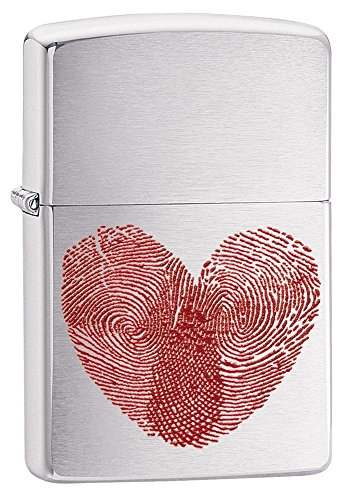 Zippo Fingerprint Heart Pocket Lighter, Brushed Chrome
