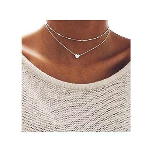 (Missgrace Gold and Silver Plated Multi Layer Multi Strand Heart Chain Necklace Choker for Woman Teens Trendy Necklaces Pendants Charms)