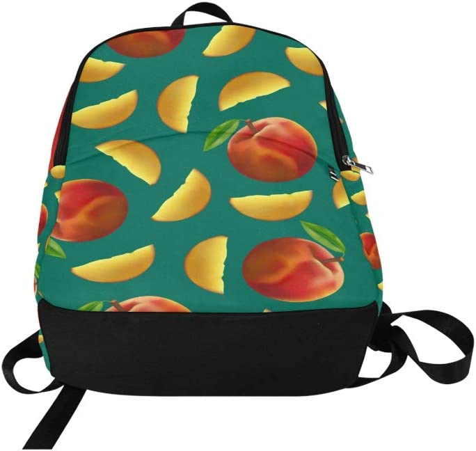 Travel Bookbag Cute Summer Creative Fruit Nectarine Durable Water Resistant Classic Mens Toiletries Travel Bag Hiking Bag Carrier Kids Sport Bag Mens Casual Bag