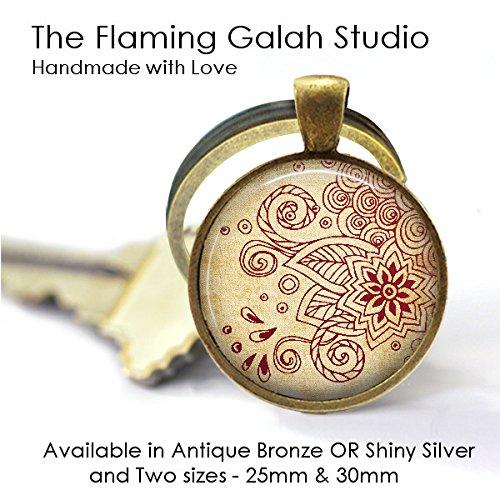 Simple Henna Lotus Flower Key Ring Spiritual Symbol Peace Flower