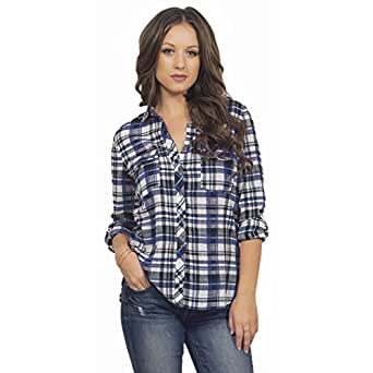 Women 39 S Button Up Lightweight Cotton Relaxed Fit Plaid