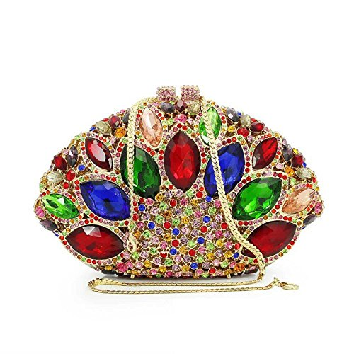 Diamond Hollow A shaped Evening Bag Ladies Fan Clutch Luxury Alloy Clutch Dress rEUqrPgwx
