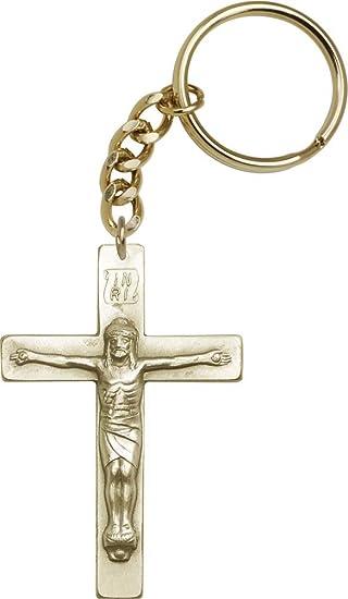 Oro antiguo Crucifijo Llavero con caja de regalo de cartón ...