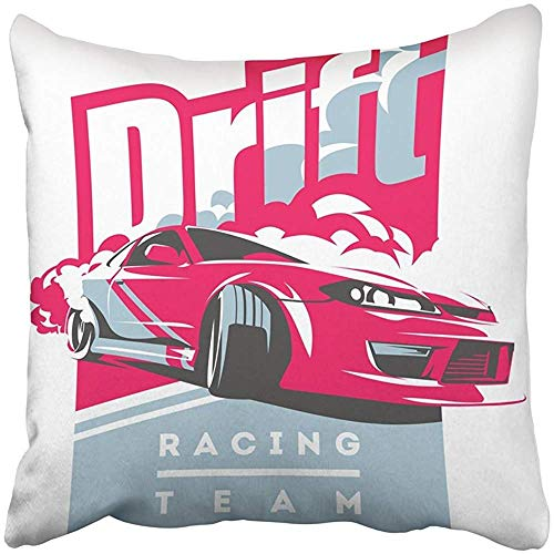 Cars Turbo Tuning (20x20 Inch Throw Pillow Cover Polyester Burnout Car Japanese Drift Sport JDM Racing Team Turbocharger Tuning Sticker Badge Cushion Decorative Pillowcase Square Two Side Print Home)