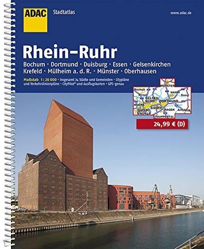 ADAC Stadtatlas Rhein-Ruhr (ADAC Stadtatlanten 1:20.000) Spiralbindung – 2016 3826413555 Karten Nordrhein-Westfalen Rhein und Nebenflüsse