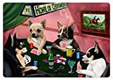 Home of Chihuahua 4 Dogs Playing Poker Large Tempered Cutting Board 15.74'' x 11.8'' x 5/32''