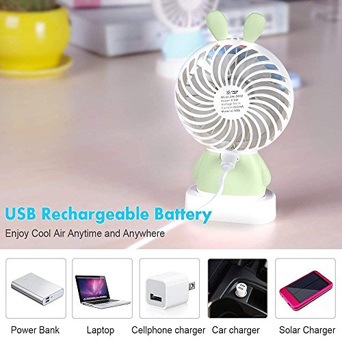 RingRingshop®® Handheld Small Fan Portable Rechargeable Mini Cooling Fan Multi-color LED Light Linglong rabbit Fan Standable Hanging Fan Gifts for Home Travel Indoor Outdoor Baby Kids (Green Rabbit) by RingRingshop® (Image #7)