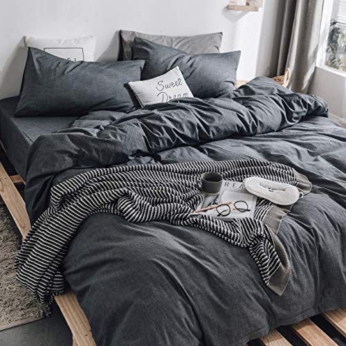 ZYEN Dark Grey Duvet Cover Set Queen 100% Washed Cotton Duvet Cover Ultra Soft 3-Piece Bedding Sets with Zipper Tie (WHB Dark Grey-Queen)