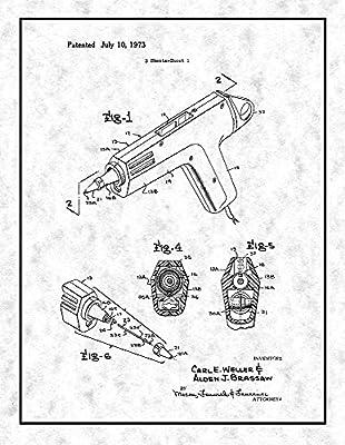 Amazon Com Glue Gun Patent Print Gunmetal With Border 24 X 30