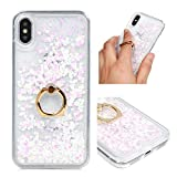 iPhone XS Case, iPhone X Liquid Glitter Case Ring Kickstand Bling Shiny Sparkle Flowing Moving Cover Clear Ultral Slim Protective TPU Bumper Shockproof Drop Resistant Protective Case for iPhone XS