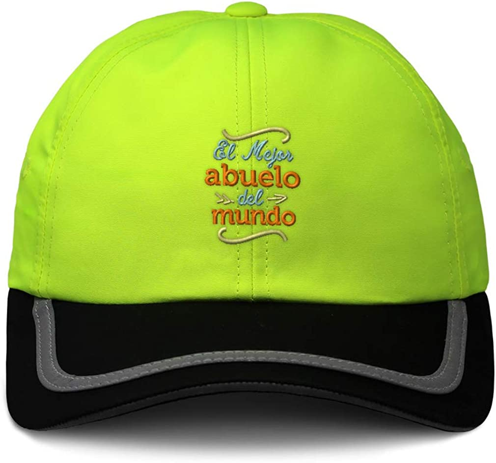 Custom Reflective Running Hat El Mejor Abuelo Green Embroidery One Size