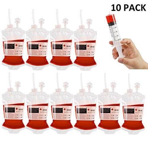 Hootech Halloween Party Supplies Blood Bags for Drinks Reusable IV Bags Drink Container with Syringe for Halloween Decorations Zombie Party Supplies (10 Pack(with Syringe), B) -