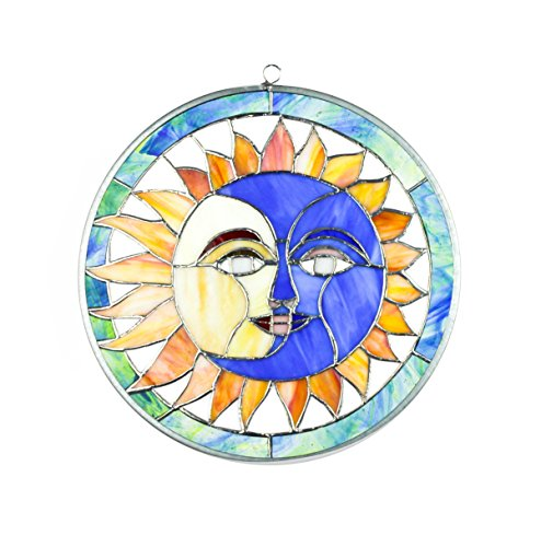 Handcrafted Stained Glass Suncatcher (Sun Moon Face Eclipse Tiffany Style Stained Glass Window Handcrafted Suncatcher)