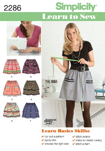 Simplicity Learn to Sew Pattern 2286 Misses Pull-On Skirt with Trim Variations Sizes 6-8-10-12-14-16-18 by Simplicity Creative Group Inc - Patterns