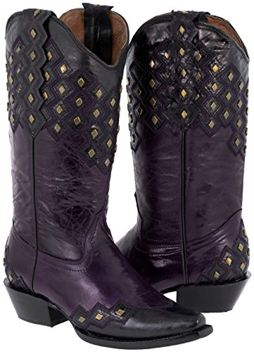 Texas Legacy Women's Purple Studded Western Leather Cowboy Boot Snip Toe 9 BM