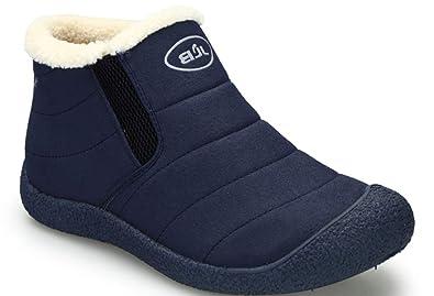 Hishoes Herren Winter Stiefel Winterschuhe Damen Gefütterte Schneestiefel  Warm Schlupfstiefel Kurz Stiefeletten Outdoor Ankle Boots Schwarz 225f614711