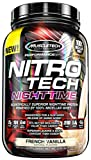MuscleTech Nitrotech Night Time Protein Powder, French Vanilla, 2 Pound