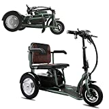 QHZ Elderly Electric Tricycle Outdoor Leisure Folding Scooter Small Mini Portable Disabled Scooter Can Carry Weight 150KG Motor 350W Maximum Mileage 55Km Two Optional,Green,48V20AH