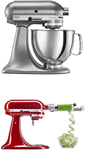 KitchenAid Artisan Series 5-Qt. Stand Mixer- Contour Silver and Spiralizer Attachment