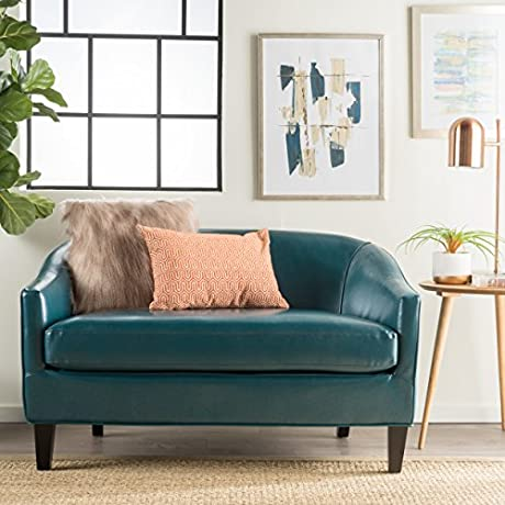 Isolde Modern Petite Loveseat Fabric Or Leather Teal Leather
