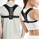 Back Brace - VANWALK High Back Brace for Women Men Kids (27.5-47'') - Improve Bad Posture, Thoracic Kyphosis, Upper Back Pain Relief (Black) (Belt)