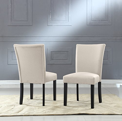 US Pride Furniture Sally Collection Classic Fabric Upholstered Dining Room Armless Accent Chair, Set of 2 Beige