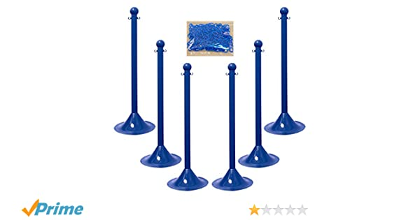 Pack of 6 Blue Chain Plastic Stanchion Kit with 50 Feet of 2-Inch Link Chain and C-Hooks Mr 71106-6