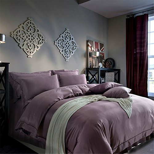 Lotus Karen Gorgeous Solid Color Satin Pale Mauve Bed Sheet Set Luxury 4PC Wedding Duvet Cover Set,1Duvet Cover,1Falt Sheet,2Pillow Shames,King Queen Full Size by Lotus Karen