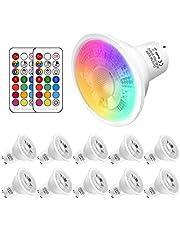 GU10 LED kleurveranderende lamp, 5W vervangt 50W halogeen, 500 lumen, GU10 LED warm wit 2700K RGBW, GU10 kleur dimbaar, 10 stuks