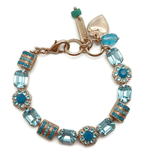 Mariana Swarovski Crystal Rose Gold Plated Bracelet Aqua Mix Rectangle Mosaic 1082 Zambezi