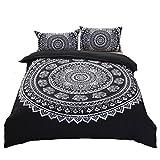 MOVE OVER Black Bohemian Bedding Black and White Duvet Cover Set White Floral Elephant Printed Black Boho Bedding Sets Queen (90'' x 90'')-3 Pieces-(1 Duvet Cover + 2 Pillowcases) (Queen,Black)