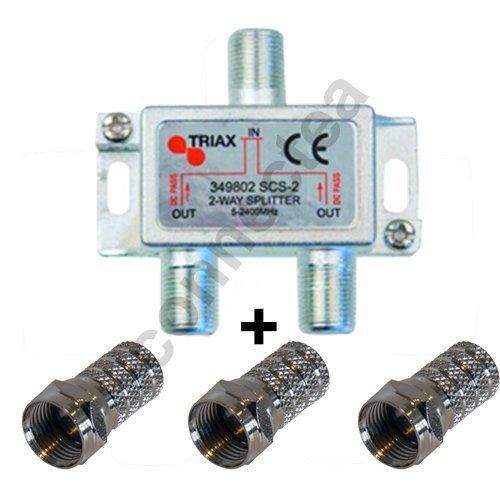 Opensys - Ripartitore Triax antenna TV / Sat, 1 entrata, 2 uscite con passaggio CC, 3 connettori, presa F, satellite, TNT