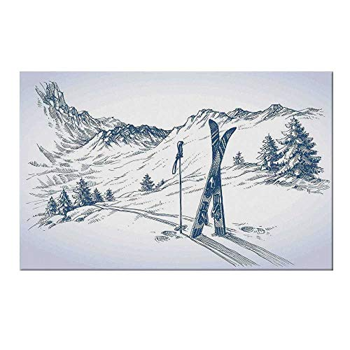 YOLIYANA Winter Decorations Durable Door Mat,Sketchy Graphic of a Downhill with Ski Elements in Snow Relax Calm View for Home Office,17.7