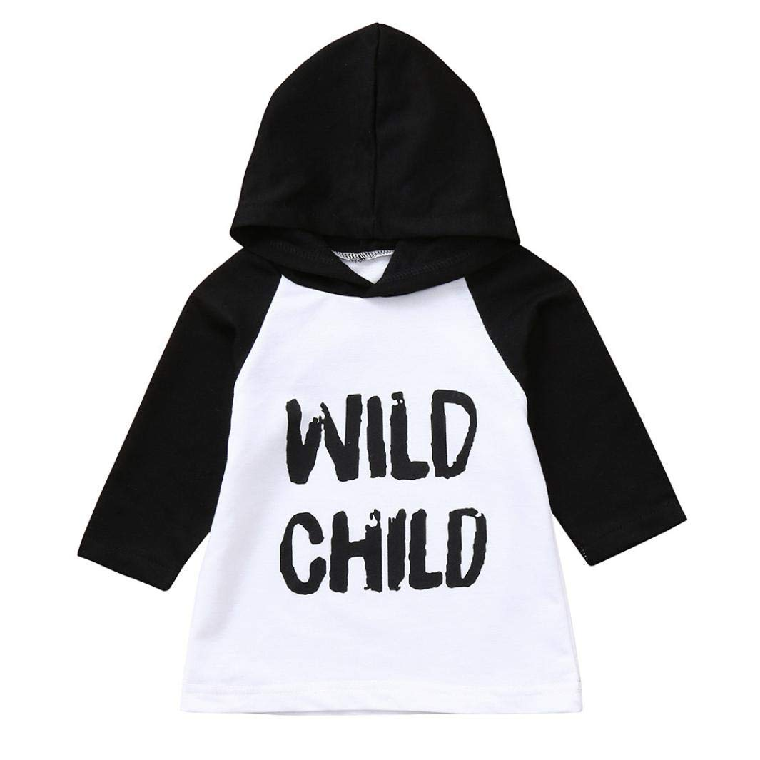 Winsummer Baby Boys Girls Wild Child Letter Print Long Sleeve Sweatshirt T-Shirt Clothes Toddler Hoodie Pullover Top