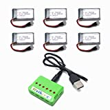 3.7V 380mAh 25C Lipo Battery 6Pcs And 1pcs X6 Charger for TOZO Q2020 Hubsan X4 H107C 107D 107L Virhuck T915 RC Drone Space Parts
